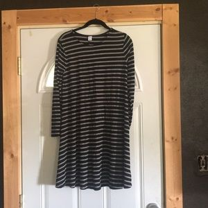 Black and white striped swing dress